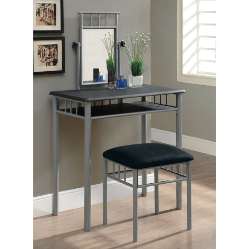 Monarch Specialties Black and Silver Metal Vanity Set, 2-Piece