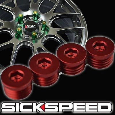 4 Flat Cap Set For Sickspeed Extended Tuner Lug Nuts Wheel/Rim/Tire P6 Red for Mitsubishi Raider (Mitsubishi Raider Rims compare prices)