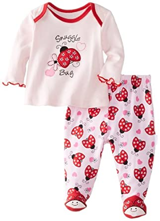 Vitamins Baby Baby-Girls Newborn Snuggle Bug 2 Pack Pajama Set, Pink, 6 Months