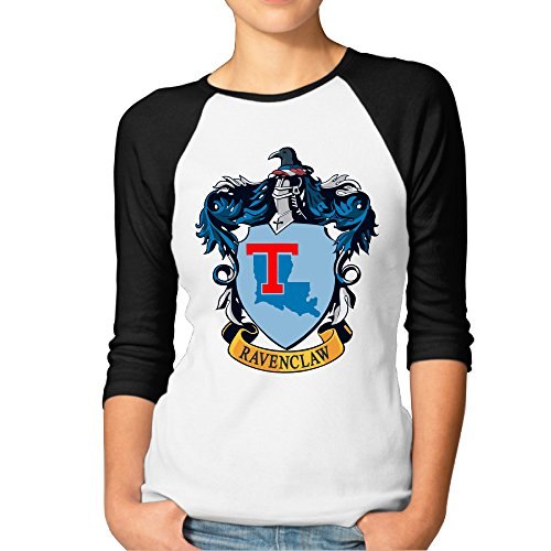 [PKTWO Louisiana Tech University Ravenclaw Crest Women's T-shirt 3/4 Sleeve Tees Black M] (Ravenclaw Mascot)