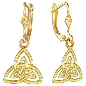 14k Yellow Gold Trinity Earrings