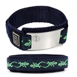 SIGHT IMPAIRED Sport Medical ID Alert Bracelet with Lizard Velcro wrist band.