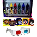 Body Paint Crayons Tatoo Face Painting Crayons Tattoo Paint 6 Pcs + 3D Glass SITATOO01