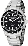 Stuhrling Original Men's 417.02 Aquadiver Regatta Espora Swiss Quartz Professional Diver Black Dial Stainless Steel Bracelet Watch
