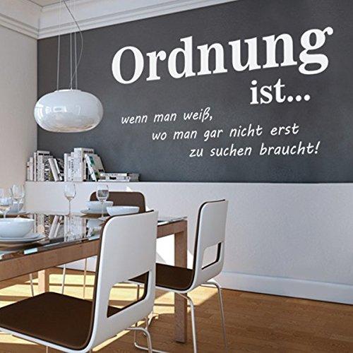 denoda ordnung ist wandtattoo schwarz 51 x 25 wandsticker wanddekoration wohndeko. Black Bedroom Furniture Sets. Home Design Ideas