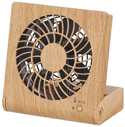 Pieria(ピエリア) 10cm コンパクトデスク扇風機 ナチュラルウッド 3電源(AC,USB,乾電池) 風量2段階切替