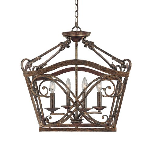 B0043LZ3H2 Capital Lighting 9361RT Foyer with Clear Glass Shades, Rustic Finish