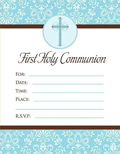 invitation first communion blue