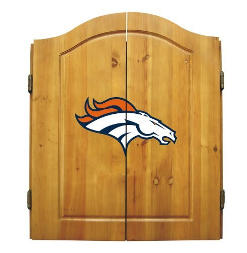 Fantastic Deal! NFL Denver Broncos Complete Dart Cabinet (w/board, darts, & flights)