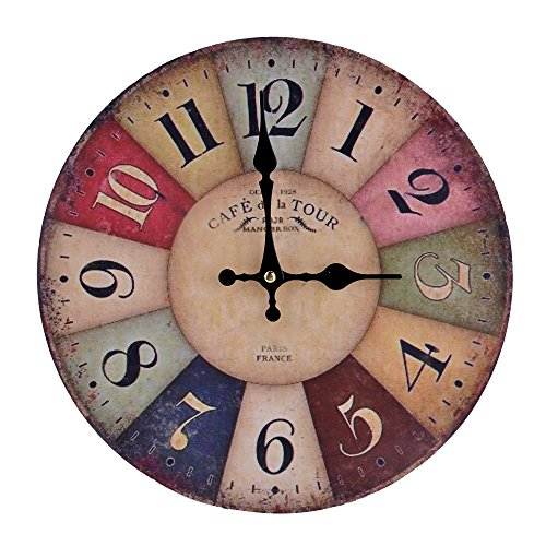 FINEJO 12 Large Vintage Rustic Wooden Wall Clock Kitchen Antique Shabby Chic Home