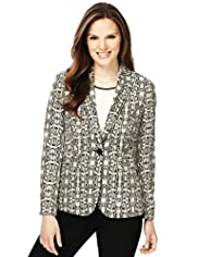 1 Button Faux Snakeskin Print Blazer