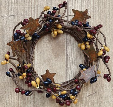 Colonial Mix Pip Candle Ring Mini Wreath W/ Rusty Stars Navy Burgundy Mustard Berries Country Primitive Décor