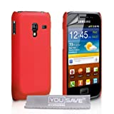 Samsung Galaxy Ace Plus S7500 Case Red Hard Hybrid Back Case Cover With Screen Protector Film And Grey Micro-Fibre Polishing Clothby Yousave Accessories