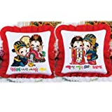 Cartoon Korean Couple Stamped Cross Stitch Cushion Cover 177inch By 177inch Set of 2