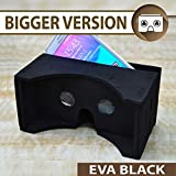 **BIGGER VERSION** I AM CARDBOARD® 45mm Focal Length Virtual Reality Google Cardboard with Printed Instructions and Easy to Follow Numbered Tabs (WITH NFC) - Perfect fit for Samsung Galaxy Note 2 and Note 3 (EVA Version (Black))