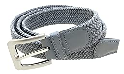 Mens Braided Elastic Stretch Belt Leather Tipped End and Silver Metal Buckle (Gray-M)