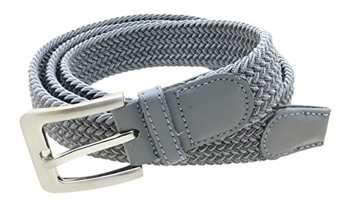 Mens Braided Elastic Stretch Belt Leather Tipped End and Silver Metal Buckle (Gray-L)