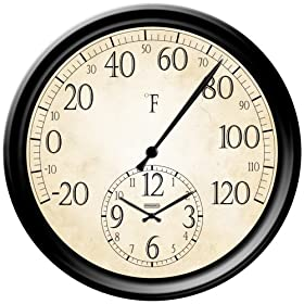 Springfield Decorative 14-Inch Patio Thermometer with Clock