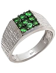 925 Sterling Silver Natural Green Garnet Gemstone 's Ring For Men