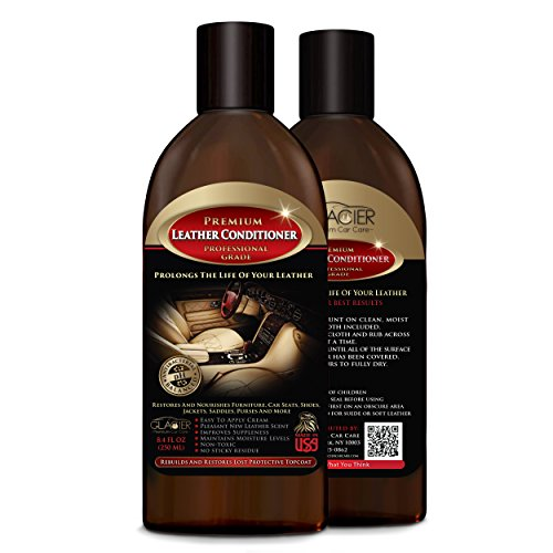 Leather Conditioner – Top Quality Professional Grade – Protects, Restores & Prevents Cracking – Automotive, Furniture, Shoes, Boots, Jackets , Upholstery & More – Great for Exotics & Distressed Leather – 250ml with Added Antibacterial Cleaner image