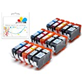 Premier Ink 15 Canon Compatible Cli526, Pgi525, Printing Ink Cartridges - New With Chip Installed No Fuss - Multipack Set Of 15 Canon Compatible Printer Ink Cartridges For Canon Pixma Ip4850, Ip4950, Mg5250, Mg5350,Mg5150, Mg8250, Mg6150, Mg6220, Mg6250, Mg8150, Mg8220, Mx715, Mx885, Ix6550 Printer Inks Pgi 525Bk, Cli 526Y, Cli 526M, Cli 526C, Cli 526Bk,) High Capacity Inks