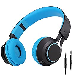 Sound Intone HD30 Stereo Lightweight Folding Headsets with Stretchable Headband for iPhone, All Android Smartphones, PC, Laptop, Mp3/mp4, Tablet Headphone (Blue)