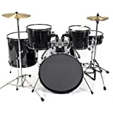 Drum Set 5 Pc Complete Adult Set Cymbals Full Size Black New...