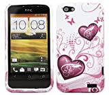 ITALKonline ProGel PURPLE WHITE HEART Super Hydro Gel Protective Armour/Case/Skin/Cover/Shell for HTC One V OneV