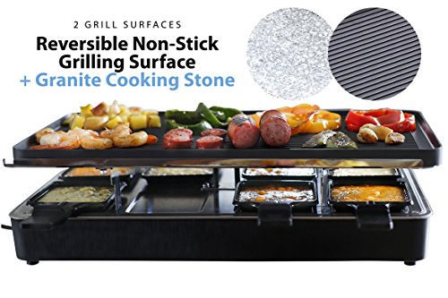 Milliard Raclette Grill for Eight People, Includes Granite Cooking Stone, Reversible Non-Stick Grilling Surface, 8 Paddles and Spatulas - Great for a Family Get Together or Party (Raclette Grill 4 Person compare prices)