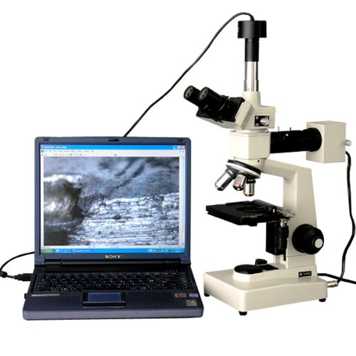 Amscope Me300Tz-3M Digital Episcopic Trinocular Metallurgical Microscope, Wf10X Eyepieces, 40X-1000X Magnification, 20W Halogen Illumination With Rheostat, Double-Layer Mechanical Stage, Sliding Head, High-Resolution Optics, Includes 3Mp Camera With Reduc