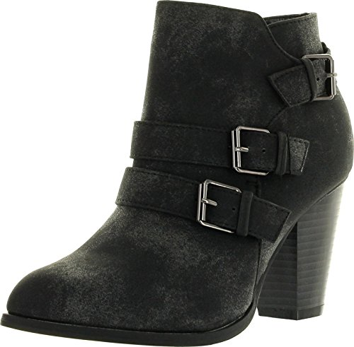 Forever-Womens-Buckle-Strap-Block-Heel-Ankle-Booties