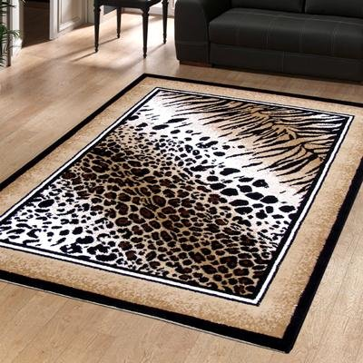 Large Modern Animal Print Out Of Africa Serengetti Leopard Rug 1.6m x 2.25m (5'3 x 7'3 Approx)
