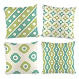 ShopMantra Simple Decorative Pattern Printed Cushion Cover Set of 4 16*16 Inch Multicolor Cushion Cover