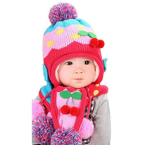 tongshi Inverno del bambino cappello di lana con cappuccio sciarpa Earflap protezione del Knit del bambino (Rosa caldo)