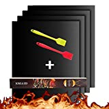 Smaid - Grill Mat Set of 4 + 2 brush - 100% Non-stick BBQ Grill Mats - FDA-Approved, PFOA Free, Reusable and Easy to Clean - Works on Gas , Charcoal , Electric Grill and More - 15.75 x 13 Inch