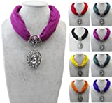Wholesale 6pcs/lot Crystal Hollow Flower Pendants Necklace Jewelry Choker Scarf