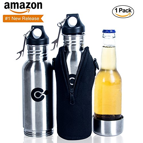 The Best Stainless Steel Beer Insulator With FREE Neoprene Zipper Sleeve | Top Quality For Beers & Beverages | Bottle Opener | Beer Cooler | Frosty Drinks For Hours | Ideal For Beer Lovers (Drinks Cooler compare prices)