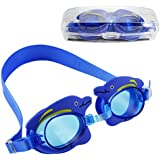 Ipow Kids Children Seal Swim Swimming Goggle With Cute Dolphin Cartoon-Soft and Comfortable,Safety Pool Goggles,Anti-fog UV Protection Best for Boys and Girls,Blue