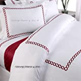 5pc Hotel Collection Bedding Red White Duvet Cover Set Full/Queen