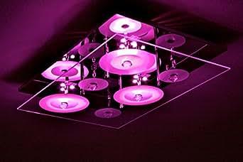 Plafonnier à LED Lampe suspension Changeur de couleur Lustre moderne Verre
