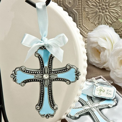 Pewter Color Cross Ornament - Baby Gift - Shower Christening - Keepsake Boy Girl (Blue/Pewter Color - Boy)