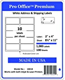 Pro Office Premium 1000 Self Adhesive Shipping Labels for Laser Printers and Ink Jet Printers, White, Made in USA, 2 x 4 Inches, Pack of 1000, Same Size As Avery 8163 and More