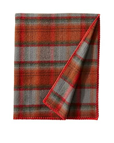 bambeco Classic Plaid Wool Throw, Brown