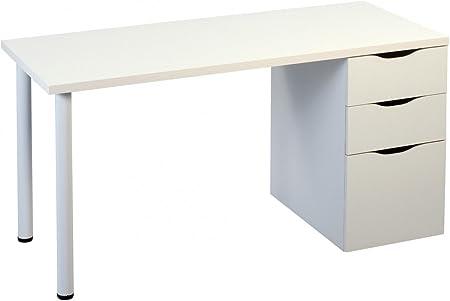 Dreams4Home Schreibtisch 'Happy' Holz Weiß Tisch Sekretär Computertisch Konsole 138 x 74 cm Sideboard