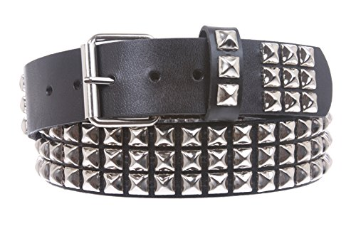 Snap On Three Row Punk Rock Star Metal Silver Studded Full Grain Leather Belt Size: 32 Color: Black