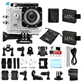 4K Ultra HD Action Camera Wifi 1080P 60fps 16MP 2.0 inch Waterproof Sports Video Camera Car Helmet Camcorder with 2pcs Batteries