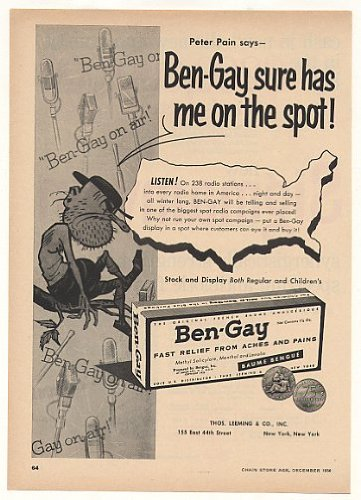 1956 Peter Pain Ben-Gay Radio Station Spots Trade Print Ad
