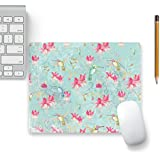 Colorpur Hummingbird Colibri Fuchsia In Aqua Designer Mouse Pad Black Base - 8 In X 7 In | Artist: UtART