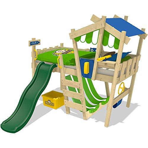 WICKEY-Kinderbett-CrAzY-Hutty-Hochbett-Abenteuerbett-inkl-Lattenboden-Blau-Apfelgrn-grne-Rutsche