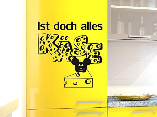 Kühlschrank Aufkleber Wandtattoo Tattoo für Küche Ist doch alles Käse Maus (Größe=58x57cm//Farbe=061 grün)